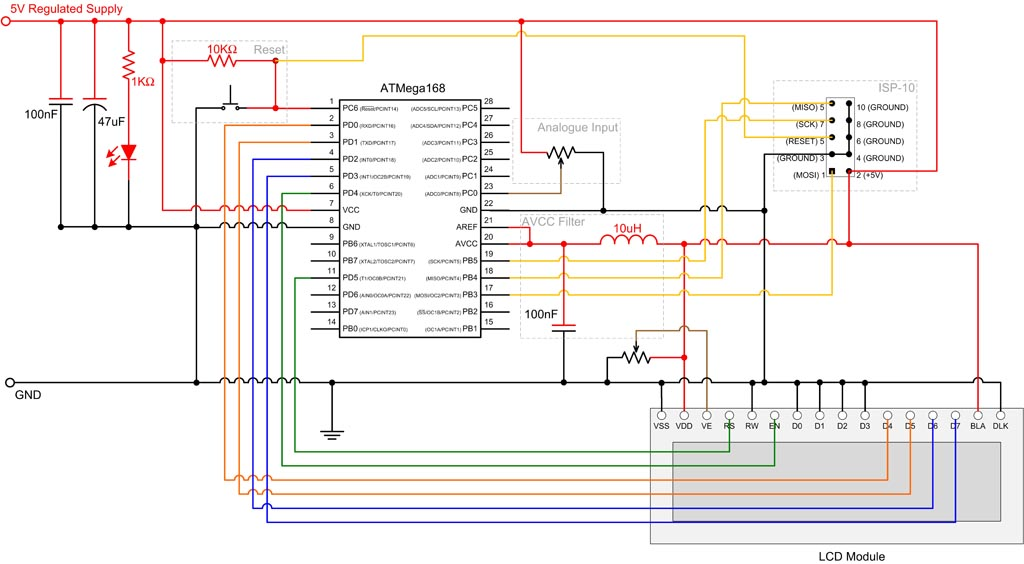 ATMEGA 8 168 328 Digital to Analog Conversion Schematic. ADC