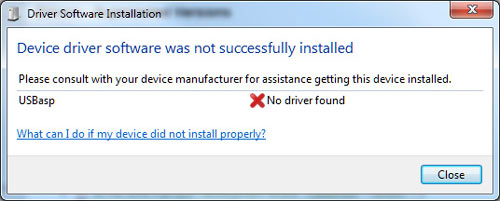 Installing USBASP driver on Windows 7 - failed to find driver