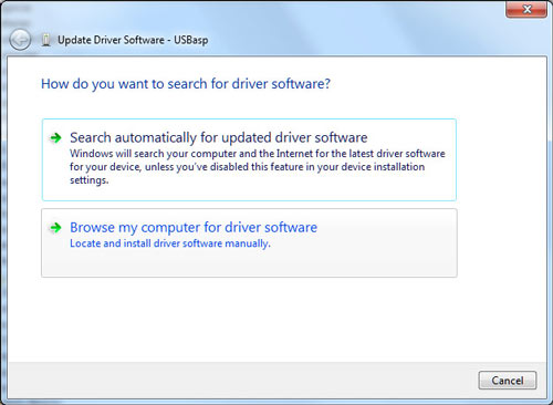 How do you want to search for driver software