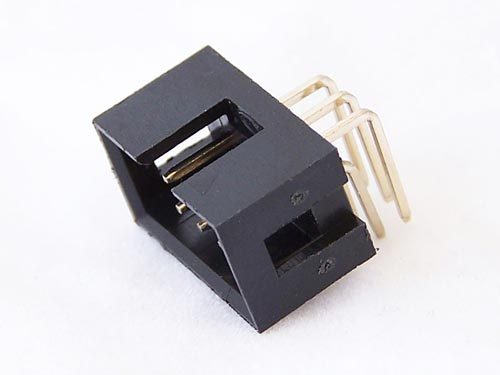 6 pin (6x2) IDC connector with right angle leads.